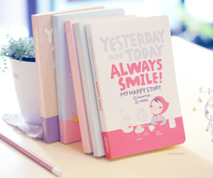 book, smile, and pink image
