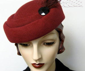 burgundy, pillbox, and couture millinery image
