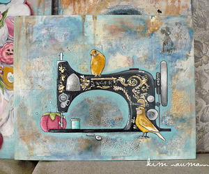 bird, sewing machine, and painting image