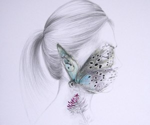 butterfly, face, and girl image