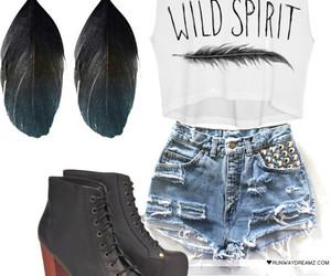denim shorts, high heels, and jeffrey campbell image