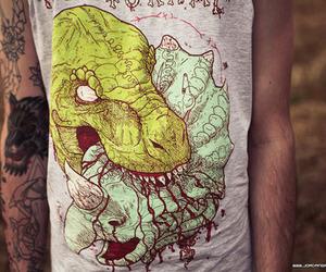 tattoo, boy, and dinosaur image