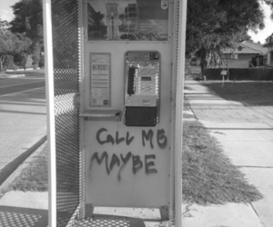call me maybe, black and white, and photography image