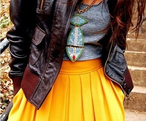 fashion, yellow, and skirt image