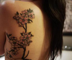 back, flowers, and girl image