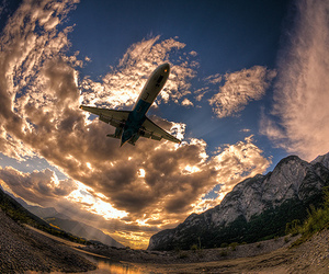 photography, sky, and airplane image