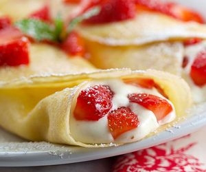 crepes, food, and strawberry image