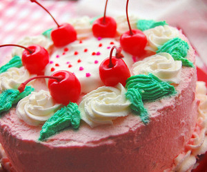 cake, cherry, and food image