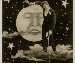 vintage, art, and moon image