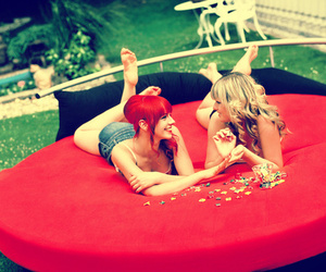 girl, red, and friends image