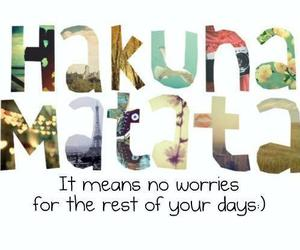 hakuna matata, quote, and no worries image