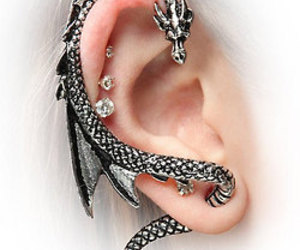 dragon, ear, and earrings image