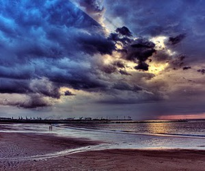 beach, clouds, and water image
