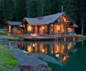 house, lake, and light image