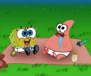 baby, spongebob, and patrick image