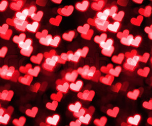 bokeh, hearts, and czerwony image