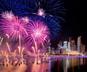 fireworks, night, and city image
