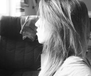 black and white, look, and girl image