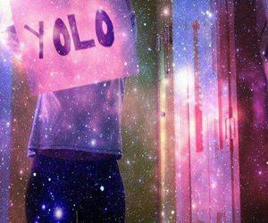 galaxy, girl, and yolo image
