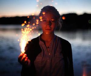 girl, light, and fireworks image
