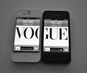 vogue, iphone, and black and white image