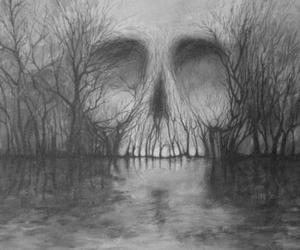 skull, tree, and art image