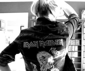 iron maiden and black and white image