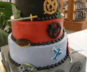 cake, mockingjay, and the hunger games image