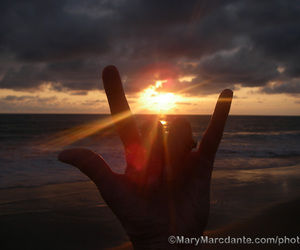 hand, sunset, and rock image