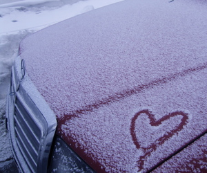 car, snow, and love image