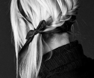 black and white, braid, and hair image