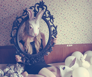 girl, rabbit, and mask image