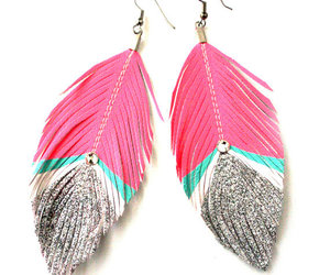 earrings, pink, and feather image