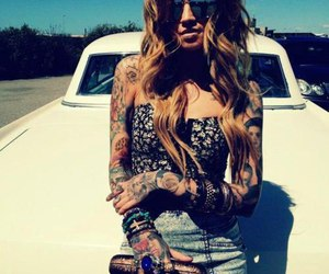 tattoo, girl, and car image