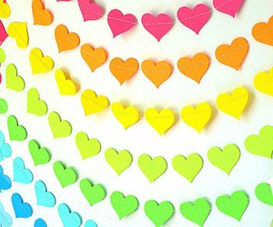 hearts, heart, and rainbow image