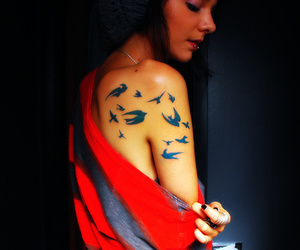 birds, ink, and girl image