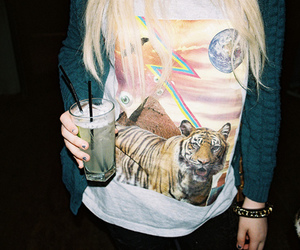 girl, drink, and tiger image