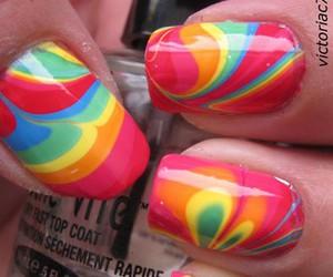 nails, rainbow, and nail art image