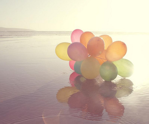 balloons, beach, and water image