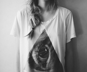 girl, eye, and black and white image