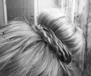 hair, bun, and black and white image