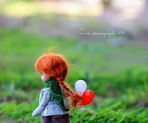 baloons, doll, and grama image