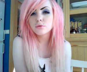 girl, pink hair, and piercing image