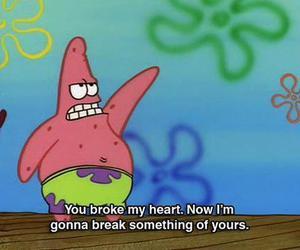 patrick, heart, and spongebob image