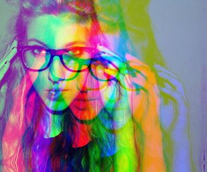 girl, glasses, and colors image