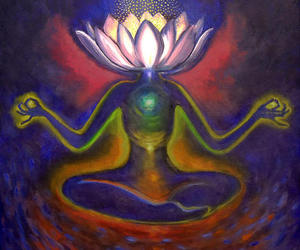 lotus, psychedelic, and meditation image