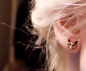 earrings, blonde, and fox image