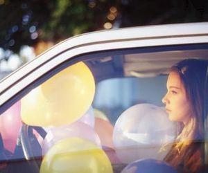 girl, balloons, and car image