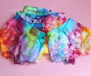 rainbow, shorts, and tie dye image