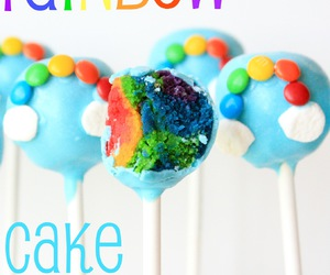 rainbow, cake, and cake pops image